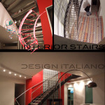 dettagli costruttivi, vedute della scala in costruzione e vista della scala d'interior design nel suo contesto raffinato e moderno