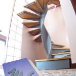 l'ingombro della scala; dettaglio primo gradino con forma e dimensioni variate con valore di invito