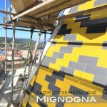 parete ventilata in okite montata a secco su struttura metallica. decoro a losanghe come l'originario
