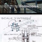 scala a sbalzo in vetro e struttura portante in acciaio rivestita in legno, schizzi di progetto detail di aggancio gradino in morsa di acciaio regolabile