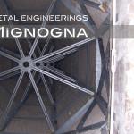 restauro della torre campanaria con nuova guglia in acciaio zincato, la struttura metallica vista  interna