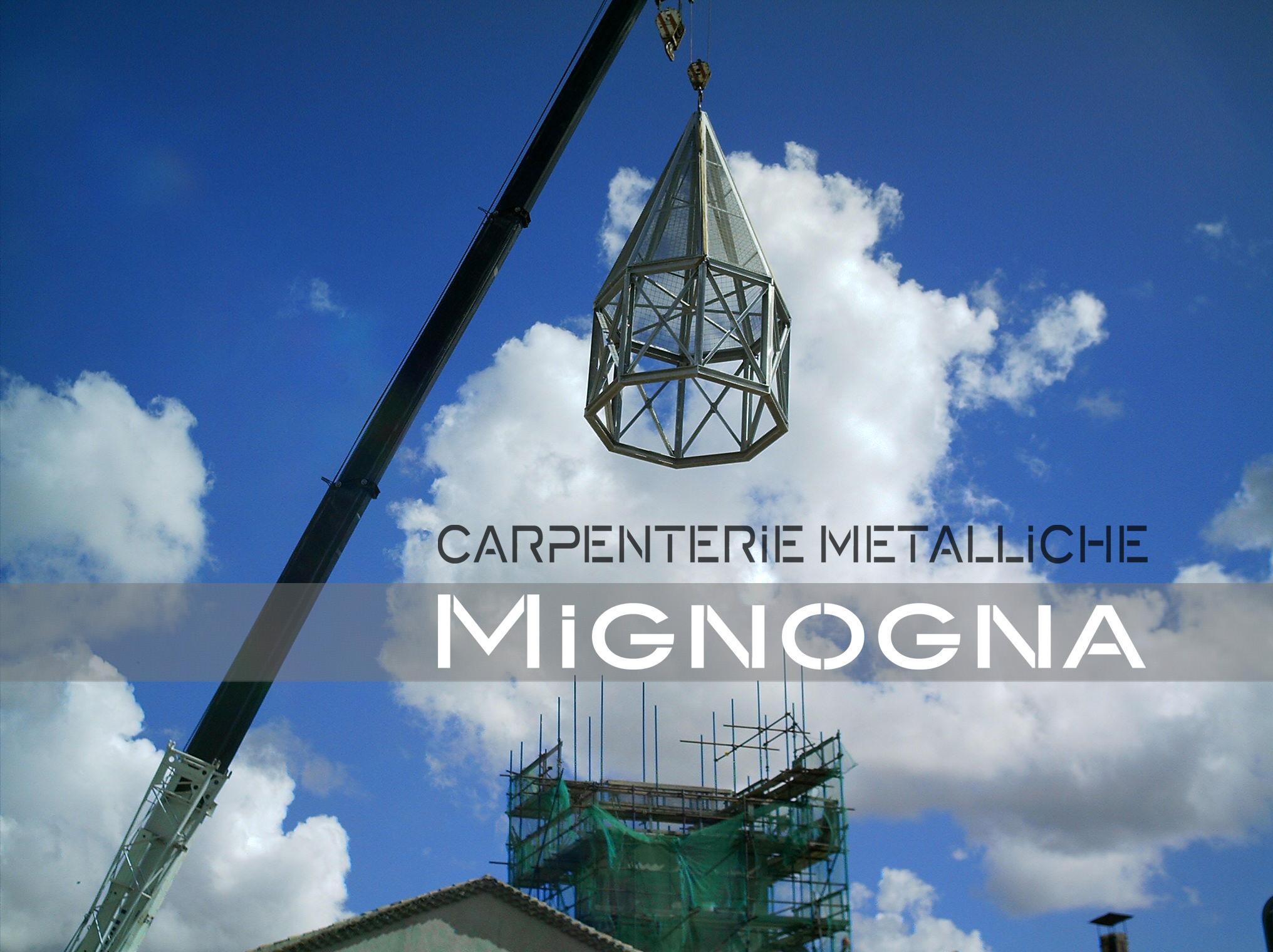 restauro della torre campanaria con nuova guglia in acciaio zincato, la messa in posa della struttura metallica