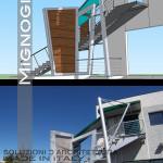 scala in acciaio in progetto e a lavori ultimati, vista del totem in acciaio