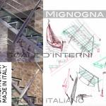 scala in acciaio e vetro, disegni delle suggestioni artistiche per la balaustrata in acciaio sagomato verniciato