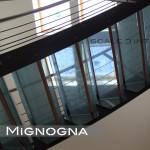 gradini in vetro con inserti in seta, detail ringhirara inox
