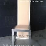 progetto per Dubai. contract alberghiero. sedia leggera in alluminio versione silver e rivestimento in pelle di cammello color champagne