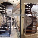 particolari di costruzione e in opera della scala a chiocciola in acciaio e legno