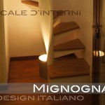 detail light design: faretto illuminante alla base dell'elica in acciaio