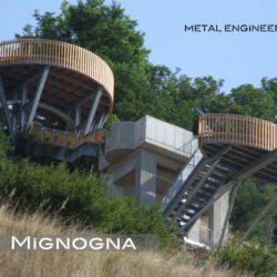 belvedere in acciaio zincato, legno e c.a.