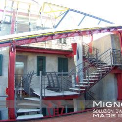 scala e tettoia - anno 2002 - progetto arch. Pedacchia- realizzazione Carpenterie metalliche Mignogna srl